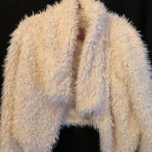 Cream Furry Shrug Jacket